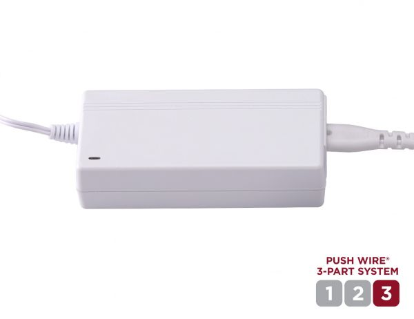 Push Wire Under Cabinet Light 48W Plug-In Power Kit is Step 3 of the System