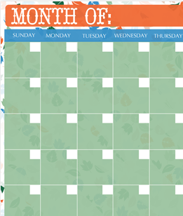 Fall Monthly Calendar