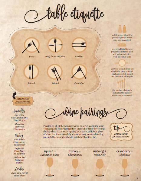 Printable Table Etiquette and Wine Pairings