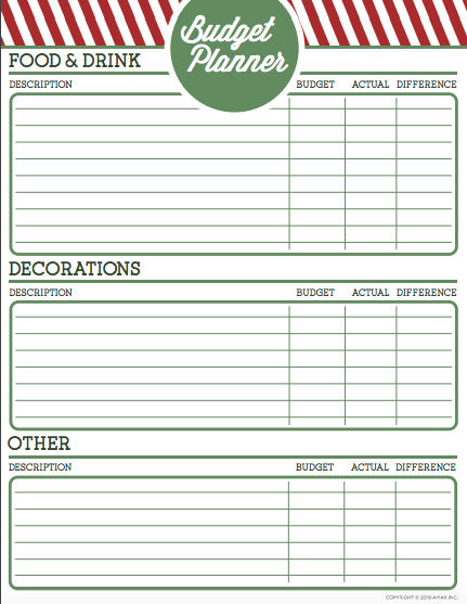 Printable Holiday Party Budget Planner