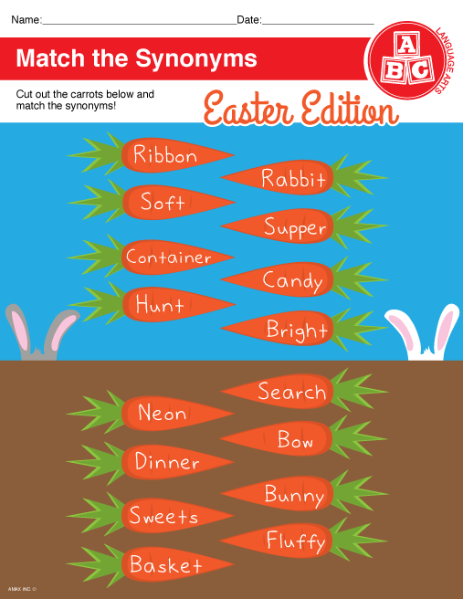 Printable Easter Synonym Worksheet