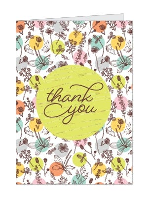 Printable Floral Thank You Card