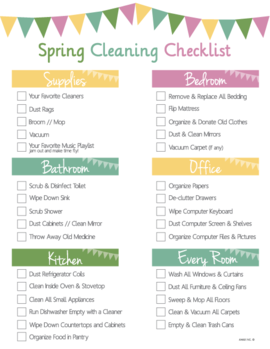Printable Spring Cleaning Checklist