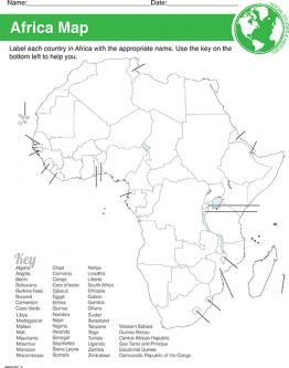 Africa Map & Worksheet