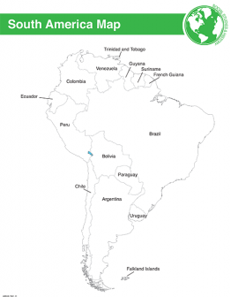 South America Map & Worksheet