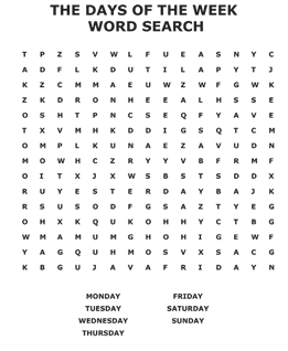 Days of the week word search
